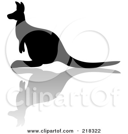 Royalty-Free (RF) Clipart Illustration of a Silhouetted Black Kangaroo With A Reflection by Pams Clipart