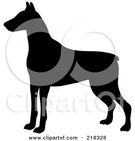 Royalty-Free (RF) Clipart Illustration of a Black Silhouetted Doberman Pinscher Dog In Profile by Pams Clipart
