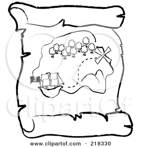 Royalty-Free (RF) Clipart Illustration of an Outlined Ship Near An Island On A Scroll Treasure Map by Pams Clipart
