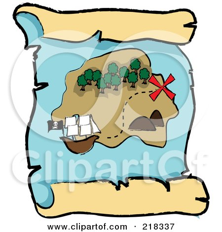 Royalty-Free (RF) Clipart Illustration of a Ship Near An Island On A Scroll Treasure Map by Pams Clipart