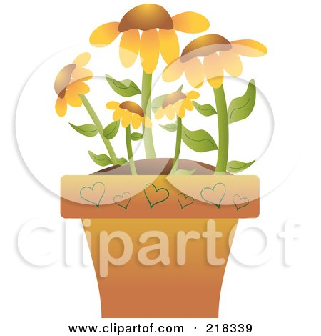 Royalty-Free (RF) Clipart Illustration of Black Eyed Susan Flowers In A Terra Cotta Pot by Pams Clipart