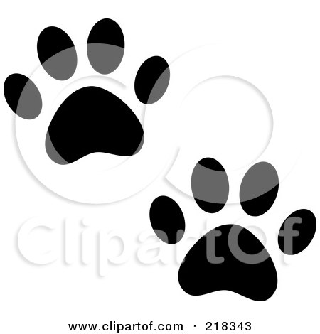 Royalty-Free (RF) Clipart Illustration of a Pair Of Black And White Dog Tracks by Pams Clipart