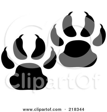 Royalty-Free (RF) Clipart Illustration of a Pair Of Black And White Bear Tracks by Pams Clipart