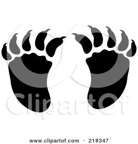 Royalty-Free (RF) Clipart Illustration of a Pair Of Black And White Raccoon Tracks by Pams Clipart