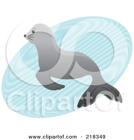 Royalty-Free (RF) Clipart Illustration of a Cute Gray Baby Seal In A Puddle Of Water by Pams Clipart