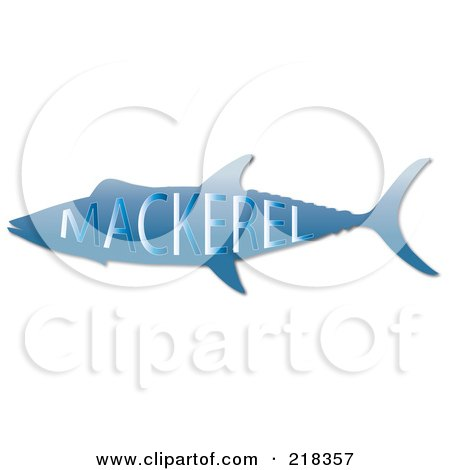 Royalty-Free (RF) Clipart Illustration of a Blue Mackerel Fish With Text by Pams Clipart