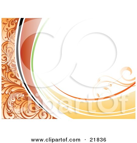 White Background With Orange Vines, Green, Yellow And Black Waves And Floral Accents Posters, Art Prints