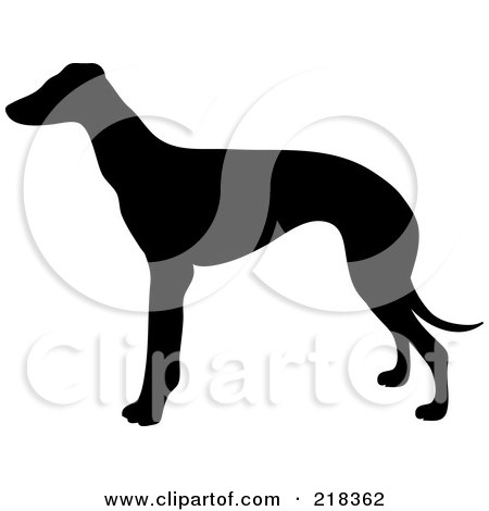 Royalty-Free (RF) Clipart Illustration of a Black Silhouetted Greyhound Dog In Profile by Pams Clipart