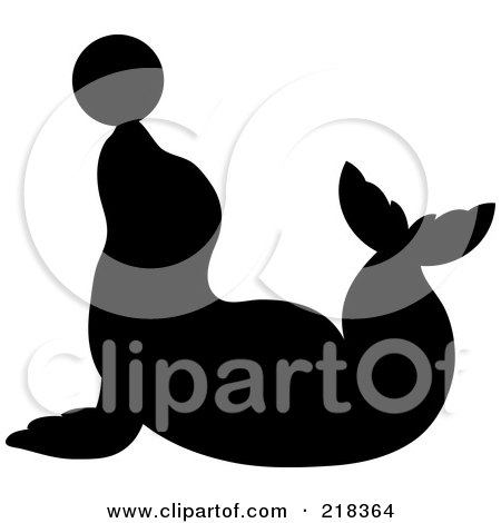 Royalty-Free (RF) Clipart Illustration of a Black Silhouetted Seal Balancing A Ball On His Nose by Pams Clipart