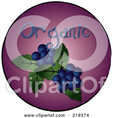 Royalty-Free (RF) Clipart Illustration of Organic Blueberries On A Purple Circle by Pams Clipart