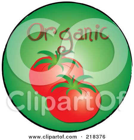 Royalty-Free (RF) Clipart Illustration of Organic Beefy Tomatoes On A Green Circle by Pams Clipart