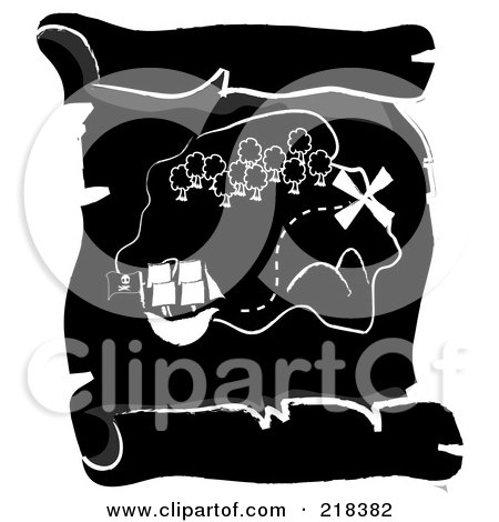Royalty-Free (RF) Clipart Illustration of a Black And White Ship Near An Island On A Scroll Treasure Map by Pams Clipart