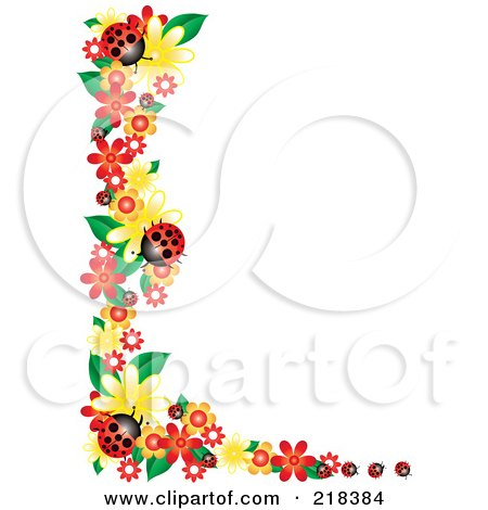 Royalty-Free (RF) Clipart Illustration of a Corner Border Of Flowers And Ladybugs by Pams Clipart