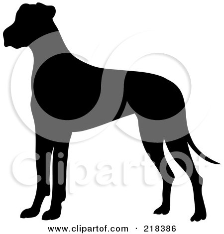 Royalty-Free (RF) Clipart Illustration of a Black Silhouetted Great Dane Dog In Profile by Pams Clipart