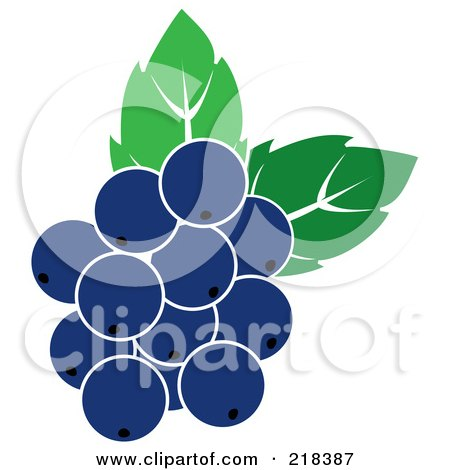 Royalty-Free (RF) Clipart Illustration of Blueberries With Leaves by Pams Clipart