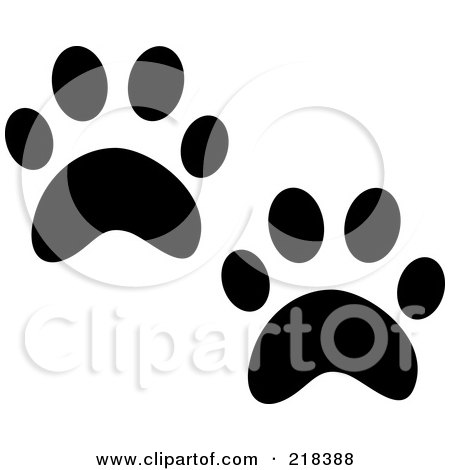 Royalty-Free (RF) Clipart Illustration of a Pair Of Black And White Cat Tracks by Pams Clipart