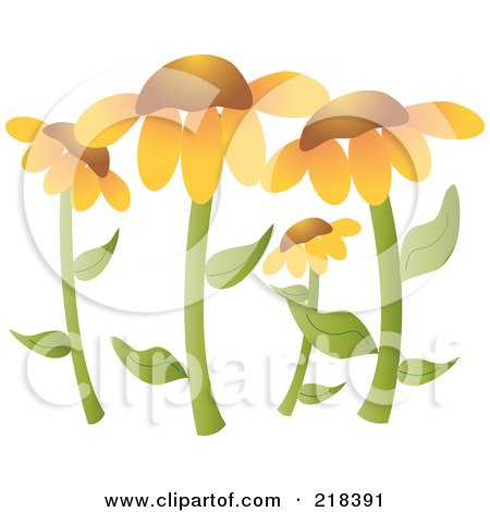 Royalty-Free (RF) Clipart Illustration of a Garden Of Black Eyed Susan Flowers by Pams Clipart
