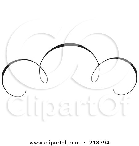 Royalty-Free (RF) Clipart Illustration of a Black And White Elegant Swirl Border Element - Version 1 by BestVector