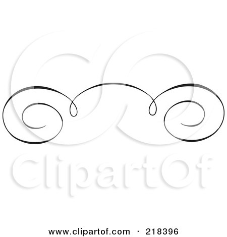 Royalty-Free (RF) Clipart Illustration of a Black And White Elegant Swirl Border Element - Version 3 by BestVector