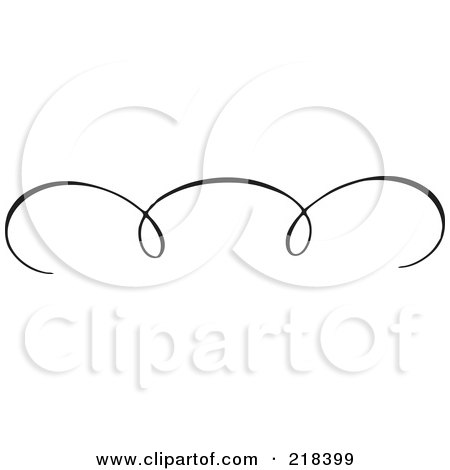 Royalty-Free (RF) Clipart Illustration of a Black And White Elegant Swirl Border Element - Version 5 by BestVector