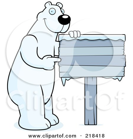 Royalty-Free (RF) Clipart Illustration of a Big Polar Bear Standing And Pointing To A Frozen Wood Sign by Cory Thoman