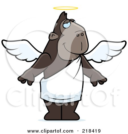 Royalty-Free (RF) Clipart Illustration of an Angel Ape With A Halo by Cory Thoman