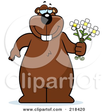 Royalty-Free (RF) Clipart Illustration of a Big Beaver Standing With Flowers In Hand by Cory Thoman