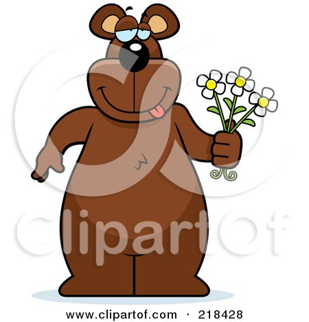 Royalty-Free (RF) Clipart Illustration of a Big Bear Standing With Flowers In Hand by Cory Thoman