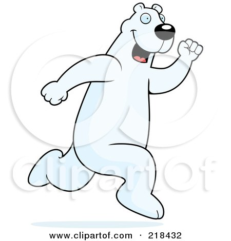 Royalty-Free (RF) Clipart Illustration of a Polar Bear Running Upright by Cory Thoman