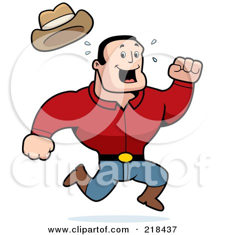 Royalty-Free (RF) Clipart Illustration of a Strong, Sweaty Cowboy Running by Cory Thoman