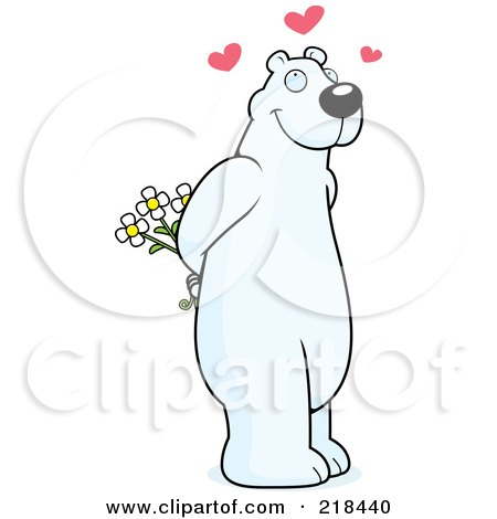 Royalty-Free (RF) Clipart Illustration of an Infatuated Polar Bear Holding Flowers Behind His Back by Cory Thoman