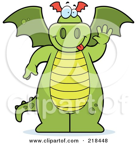 Royalty-Free (RF) Clipart Illustration of a Big Green Dragon Standing And Waving by Cory Thoman