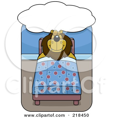 Royalty-Free (RF) Clipart Illustration of a Big Lion Sleeping And Dreaming In A Bed by Cory Thoman