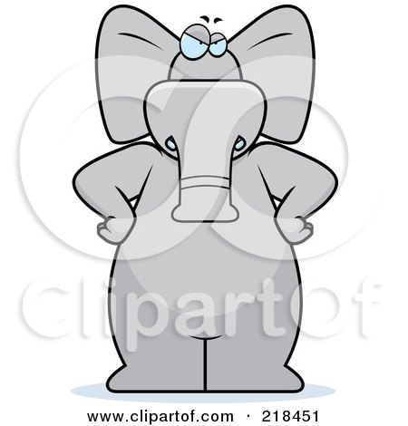 Royalty-Free (RF) Clipart Illustration of a Big Stern Gray Elephant Standing With His Hands On His Hips by Cory Thoman