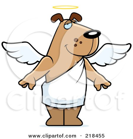 Royalty-Free (RF) Clipart Illustration of an Angel Dog With A Halo by Cory Thoman