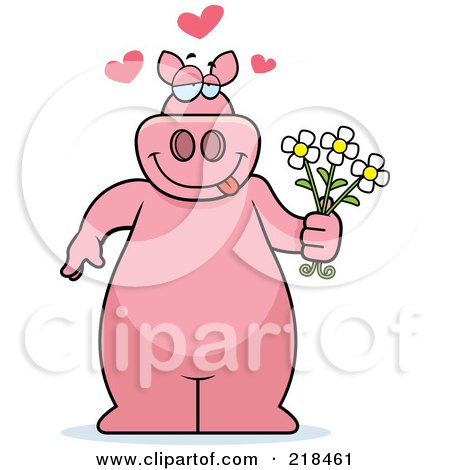 Royalty-Free (RF) Clipart Illustration of a Romantic Pig Standing And Holding Flowers by Cory Thoman
