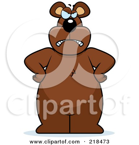 Royalty-Free (RF) Clipart Illustration of a Big Bear Standing With His Hands On His Hips by Cory Thoman