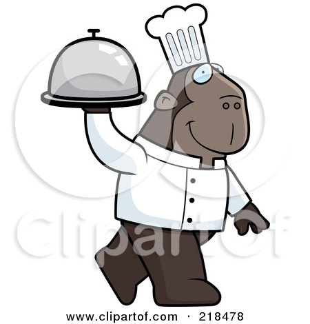 Royalty-Free (RF) Clipart Illustration of a Chef Ape Carrying A Covered Platter by Cory Thoman