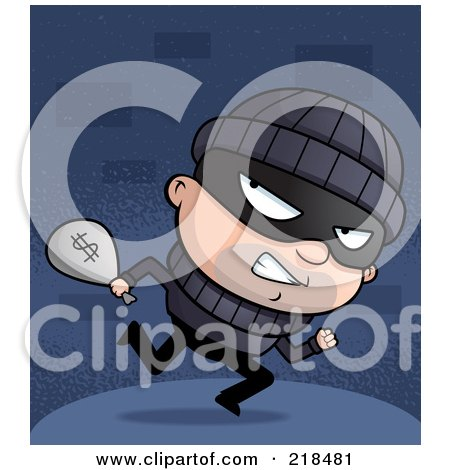 Royalty-Free (RF) Clipart Illustration of a Bank Robber Looking Back While Carrying A Bag Of Money by Cory Thoman