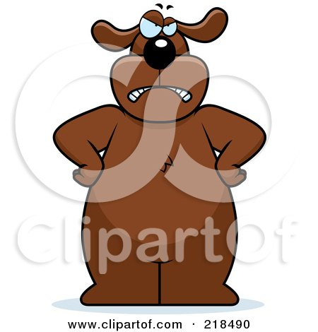 Royalty-Free (RF) Clipart Illustration of a Big Angry Dog Standing With His Hands On His Hips by Cory Thoman