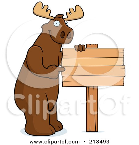 Royalty-Free (RF) Clipart Illustration of a Big Moose Standing Next To And Pointing At A Blank Wood Sign by Cory Thoman