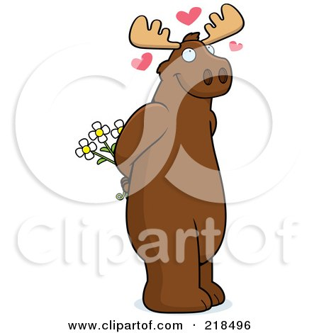 Royalty-Free (RF) Clipart Illustration of an Infatuated Moose Holding Flowers Behind His Back by Cory Thoman