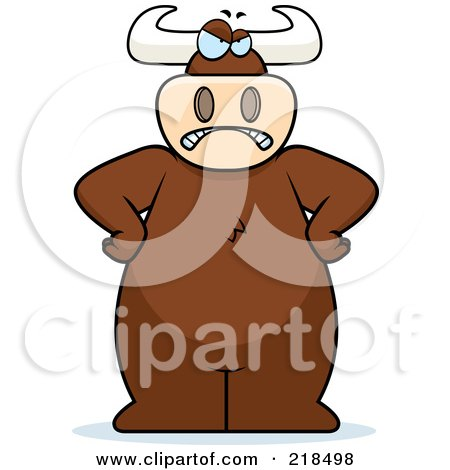 Royalty-Free (RF) Clipart Illustration of a Big Angry Bull Standing With His Hands On His Hips by Cory Thoman