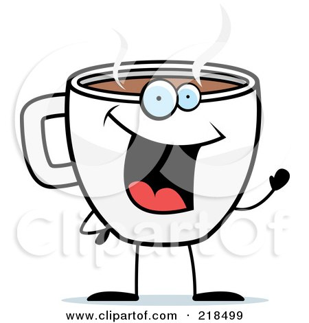 Royalty-Free (RF) Clipart Illustration of a Cup Of Coffee Smiling And Waving by Cory Thoman