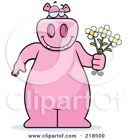 Royalty-Free (RF) Clipart Illustration of a Big Pink Hippo Holding Daisy Flowers For His Love by Cory Thoman