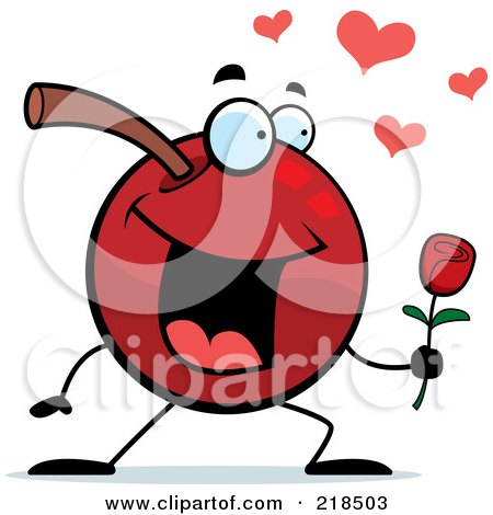 Royalty-Free (RF) Clipart Illustration of a Romantic Cherry Character Giving A Rose by Cory Thoman
