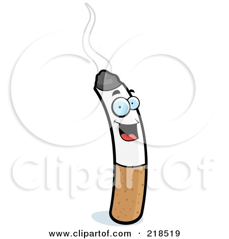 cartoon clipart of a black and white pouting cigarette in