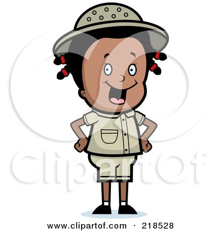 Royalty-Free (RF) Clipart Illustration of a Happy Black Safari Girl With Her Hands On Her Hips by Cory Thoman