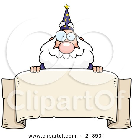 Royalty-Free (RF) Clipart Illustration of a Plump Old Wizard Looking Over A Blank Banner by Cory Thoman