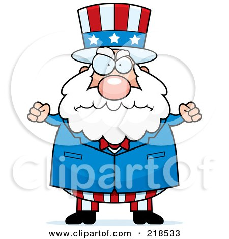 Royalty-Free (RF) Clipart Illustration of a Plump Old Uncle Sam by Cory Thoman